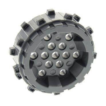 1 x Lego System Rad neu-dunkel grau Plastik Rad mit Spikes Bohrkopf für 10227 42071 60188 6007027 64711