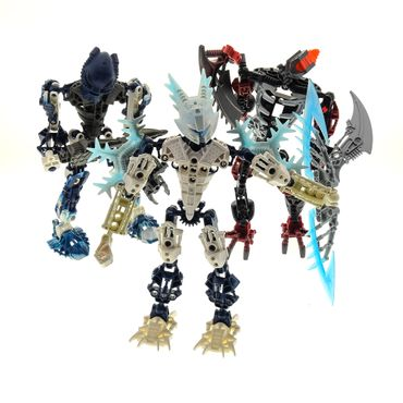 3 x Lego brick Bionicle Set 8988 Glatorian Legends Gelu 8728 Inika Toa Hahli 8691 Phantoka Antroz ( model incomplete )