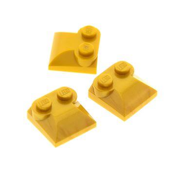 3 x Lego System Dach Stein modifiziert perl gold 2x2x 2/3 Ende gebogen Kuppel Kappe Set 8078 10196 9446 70679 4286597 47457