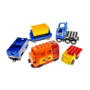 1 x Lego Duplo elektrische Eisenbahn Set ! VERKLEBT ! E-Lok rot Zug Lore Anhänger blau LKW hell blau Auto Lokomotive geprüft Set 10508 6037474 5135c01