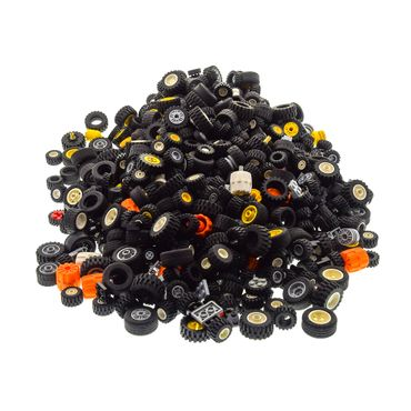 2,3 kg x Lego System Wheels Tire Rims Set black white yellow gray different shape and size for example 6118 55981