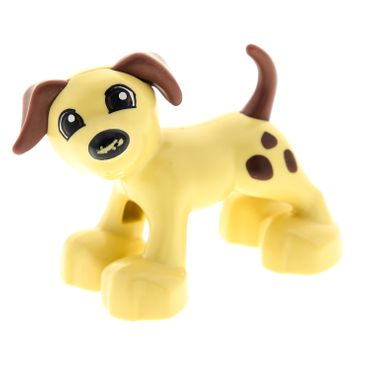 1 x Lego brick tan Duplo Dog Large Paws with Open Mouth and Spots between Eyes Pattern ( Nose traces of use ) 4499467 1396pb01