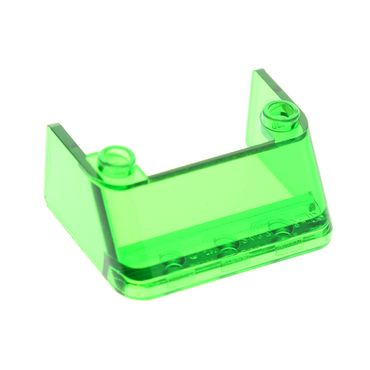 1 x Lego brick Trans-Green Windscreen 3 x 4 x 1 1/3 with 2 Studs on Top 2437