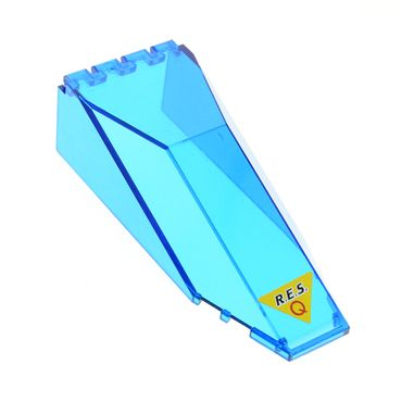 1 x Lego brick trans-dark blue Windscreen 10 x 4 x 2 1/3 Canopy with Res-Q on Yellow Triangle Pattern (Sticker) 6462 6473 2507pb06