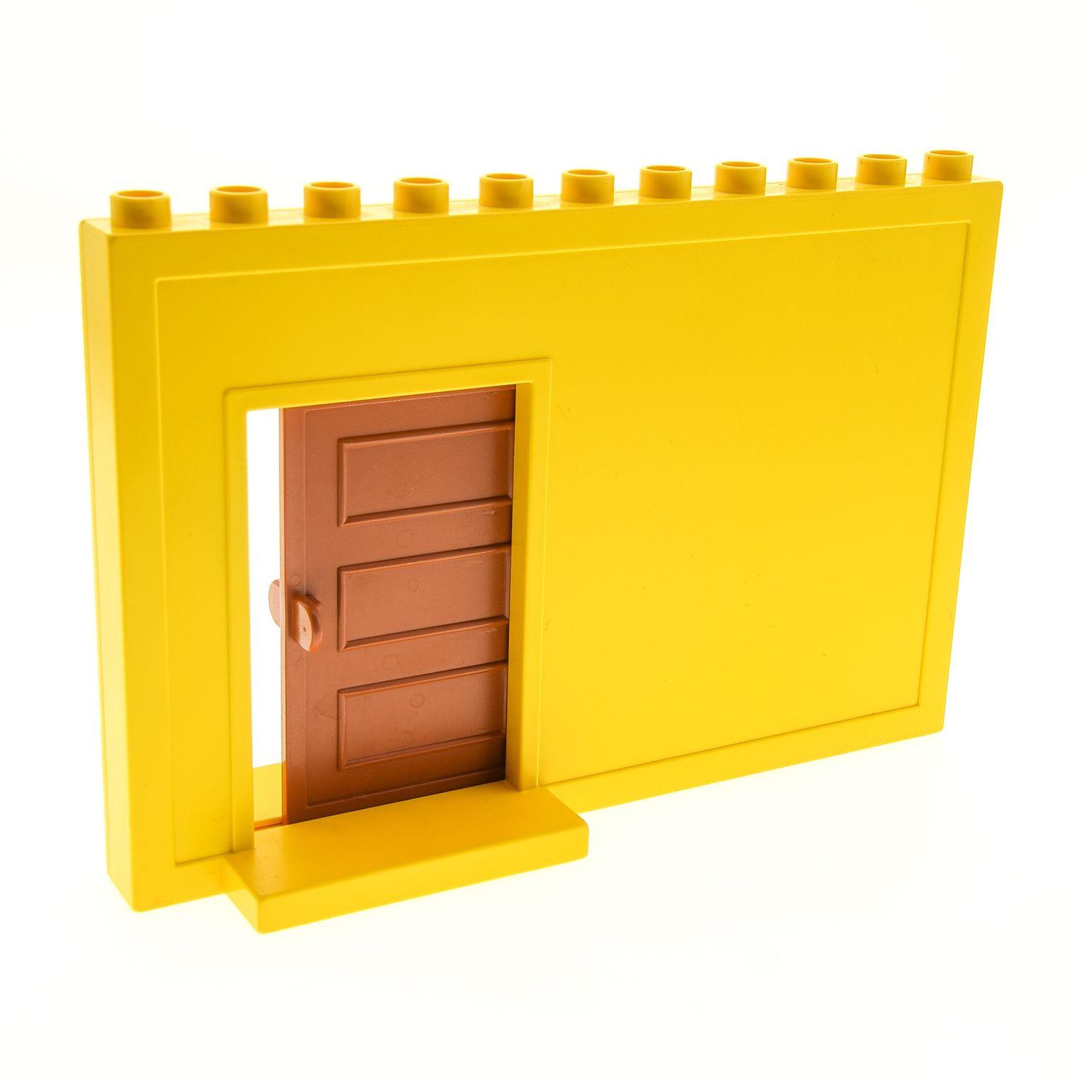 1 X Lego Duplo Wand Element Gelb 1 X 11 X 6 Mit Schiebetür Braun Zimmer  Haus Tür Mauer Puppenhaus 4901c01
