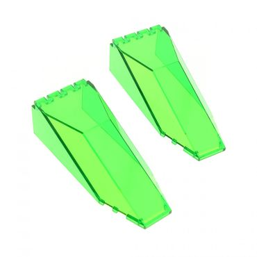 2 x Lego brick Trans-Green Windscreen 10 x 4 x 2 1/3 Canopy 2507