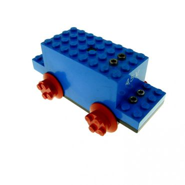 1 x Lego brick blue Electric Motor 4.5V Type I 12 x 4 x 4 with 4.5V stamped on front bb07pb01