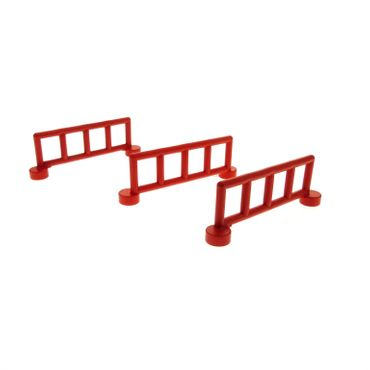 3 x Lego brick red Duplo Fence Railing with 5 Posts 2214