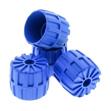 4 x Lego brick blue Wheel Hard Plastic Medium (35mm D. x 31mm) for Set 6977 6837 6919 2593
