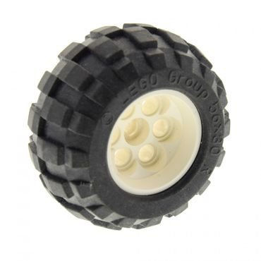 1 x Lego brick white Wheel 49.6 x 28 VR with Axle Hole with Black Tire 56 x 30 R Balloon (6595 / 32180) Set 8289 8454 8283 6595c01