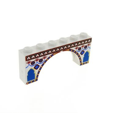1 x Lego brick white Brick Arch 1 x 6 x 2 with Indian Pattern for Set 7418 3307px1