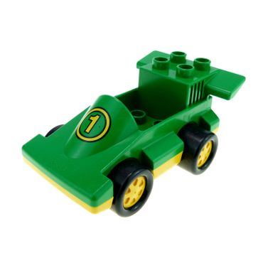 1 x Lego brick Green Duplo Car Formula One with Yellow Wheels and Yellow Number 1 Pattern for Set 2674 2599 duploracer01