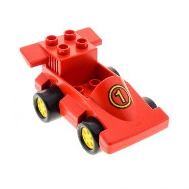 1 x Lego Duplo Fahrzeug Rennwagen rot mit Nr. 1 Rennauto Auto Räder gelb duploracer01