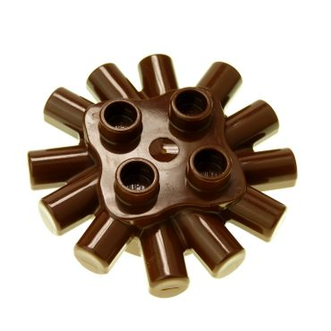 1 x Lego brick Brown Duplo Brick Round 2 x 2 with Radiating Bars Set 2604 9194 9186 31070