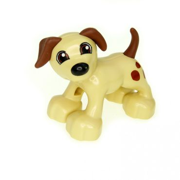 1 x Lego brick tan Duplo Dog Large Paws with Open Mouth and Spots between Eyes Pattern 1396pb01