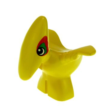 1 x Lego brick Yellow Duplo Dinosaur Pteranodon Baby with Green and Red Around Eyes Pattern 31056px1