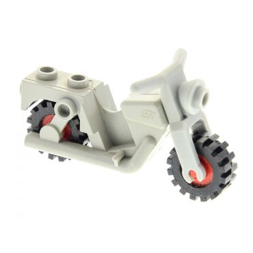 1 x Lego brick light gray Motorcycle Old with red Wheels - Complete Assembly Set 1063 6654 6684 6384 x81c01