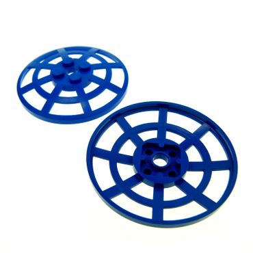 2 x Lego brick blue Dish 6 x 6 Inverted (Radar) Webbed - Type 2 (underside attachment positions at 90 degrees) 4285b