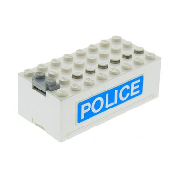 1 x Lego brick white Electric 9V Battery Box Small Complete Assembly with 'POLICE' Pattern on Both Sides (Stickers) - Set 6450 4760c01pb07