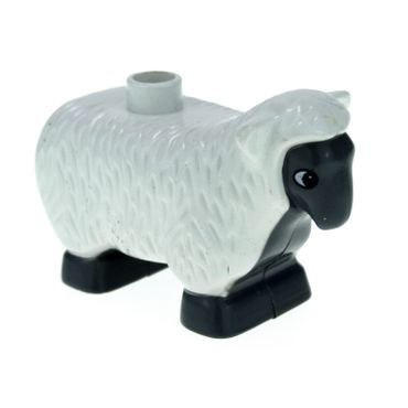 1 x Lego brick White Duplo Sheep with Dark Bluish Gray Face Chest Belly and Feet Pattern Set 4972 9228 9238 9227 4224352 6678pb01
