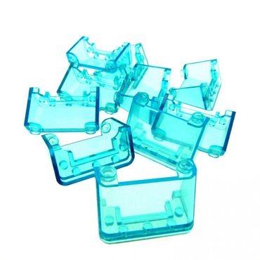 10 x Lego brick Trans-Light Blue Windscreen 2 x 4 x 2 3823