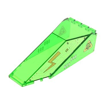 1 x Lego brick Trans-Green Windscreen 10 x 4 x 2 1/3 Canopy with Insectoids Silver / Copper Circuitry Pattern 2507px1