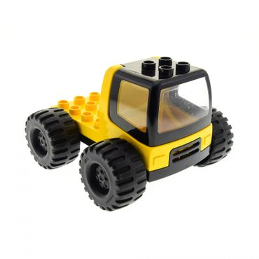 1 x Lego duplo brick yellow Truck with 4 x 4 Flatbed Plate and black Base Cabin Enclosed with Clear Windows and Jumbo Wheels dupconcar 31077