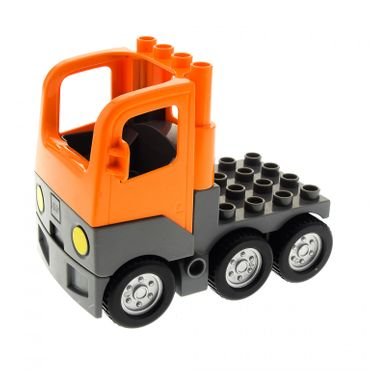 1 x Lego brick orange Duplo Truck Semi-Tractor Cab with gray Base and gray Chassis Set 3772 1326c01 48125c03