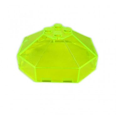 2 x Lego brick Trans-Neon Green Windscreen 6 x 6 Octagonal Canopy without Axle Hole 2418a