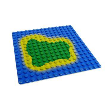 1 x Lego System Bau Basic Platte blau gelb grün 16x16 Noppen Insel Meer Piraten Wasser Grundplatte hell grau bedruckt Wasser 6098 3867p01