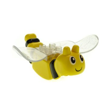1 x Lego brick Yellow Duplo Butterfly Body with Face and Black Stripes Pattern Glitter Trans-Clear Butterfly Wings with Studs 2 x 2 31223 31227pb01