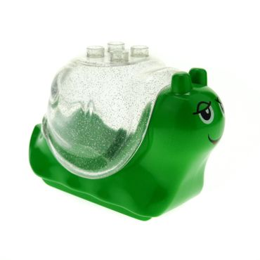 1 x Lego brick Bright Green Duplo Snail Body with 4 studs and Glitter Trans-Clear Duplo Snail Shell with 4 studs  31230 31229pb01