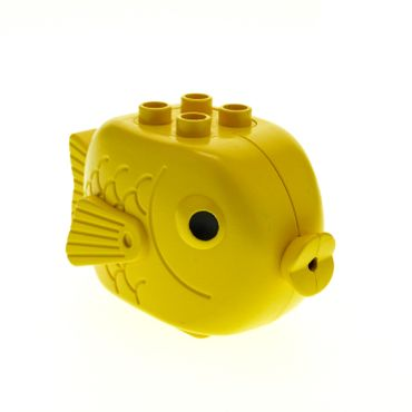 1 x Lego brick Yellow Duplo Fish with 4 Studs on Top and Black Eyes Pattern x1145px1