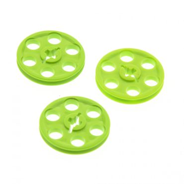3 x Lego brick lime Technic Wedge Belt Wheel 4185