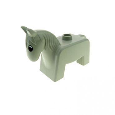1 x Lego brick Light Gray Duplo Horse Pony Eyes Black & White  4009pb02