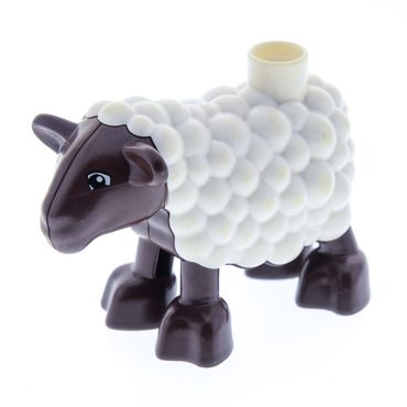 1 x Lego brick White Duplo Sheep Lamb with Dark Brown Legs and Head 4561118 duplamb01pb01
