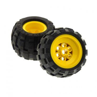2 x Lego brick yellow Wheel 43.2 x 28 Balloon Small , with Black Tire 43.2 x 28 Balloon Small (6580a / 6579) 6580c01