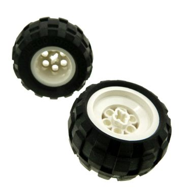 2 x Lego brick white Wheel 43.2 x 28 Balloon Small with + Shape Axle Hole with Black Tire 43.2 x 28 Balloon Small (6580a / 6579) 6580ac01
