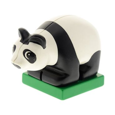 1 x Lego brick Duplo Panda Cub on Green Base, Eyes looking Left 2334c01pb01