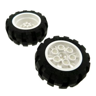 2 x Lego brick white Wheel 20 x 30 Balloon Medium with Black Tire 20 x 30 Balloon Medium (6582 / 6581) 6582c01