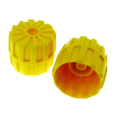 2 x Lego brick Yellow Wheel Hard Plastic Medium (35mm D. x 31mm) 2593