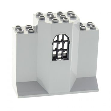 1 x Lego brick Light Bluish Gray Panel 3 x 8 x 6 with Window and black Window 1 x 2 x 2 2/3 Pane Twisted Bar with Rounded Top 30045 48490
