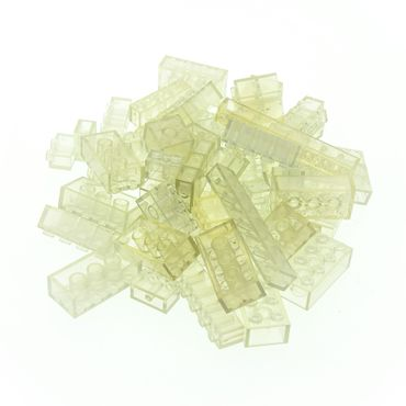 50 x Lego System glass stones transparent white with blue tint and size randomly mixed