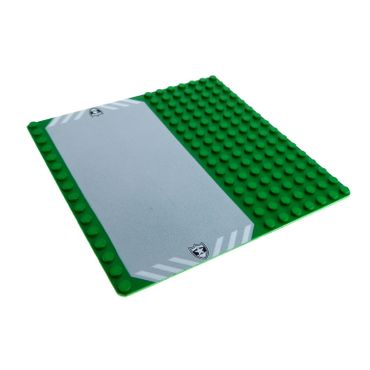 1 x Lego System Bau Basic Platte 16 x 16 grün 16x16 mit Auffahrt und Polizei Stern Aufdruck Police Rasen Straße 51595 30225pb01
