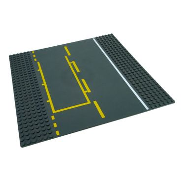 1 x Lego brick Dark Bluish Gray Baseplate Road 32 x 32 6 - Stud Straight with Yellow & White Pit Lane Pattern 44336pb02