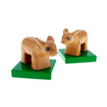 2 x Lego brick Flesh Duplo Pig Baby on Green Base 75726