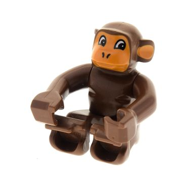 1 x Lego brick Brown Duplo Monkey Earth Orange Face and Ears Eyes Looking Left 2580 9189 3095 2281px1