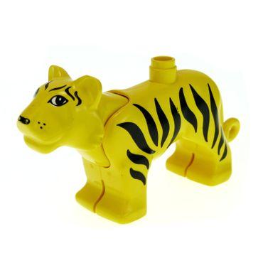1 x Lego brick Yellow Duplo Tiger Adult Standing tigerc01pb01