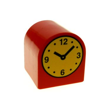1 x Lego brick Red Duplo, Brick 2 x 2 x 2 Curved Top with Clock Hands 10:08 Pattern 3664pb12