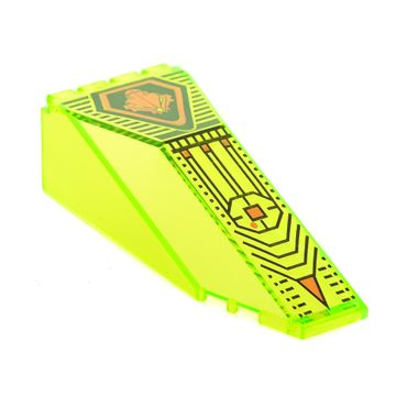 1 x Lego brick Trans-Neon Green Windscreen 10 x 4 x 2 1/3 Canopy with UFO Pattern 2507pb02